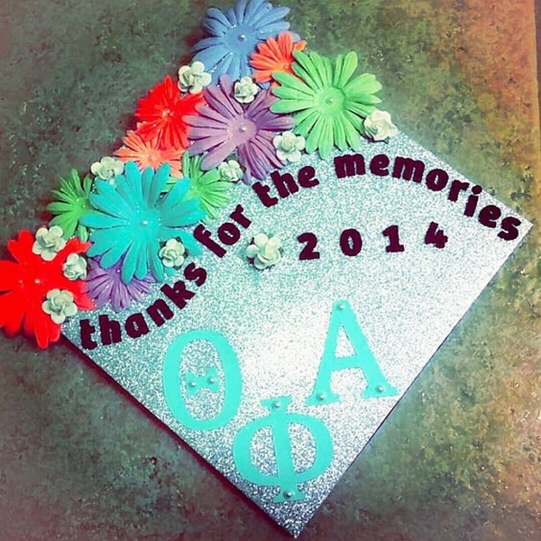DIY Thanks For The Memories Graduation Cap with Spring Flowers. 30+ Awesome Graduation Cap Decoration Ideas.