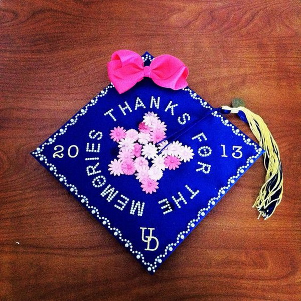 Daisy Flower Decorated Graduation Cap. 30+ Awesome Graduation Cap Decoration Ideas.