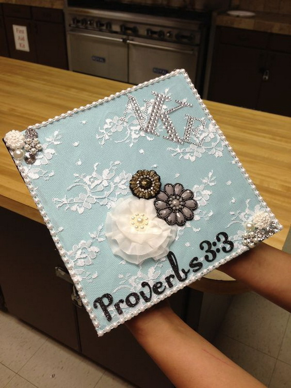 White Lace Decorated Graduation Cap. 30+ Awesome Graduation Cap Decoration Ideas.