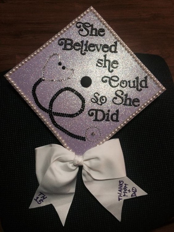 She Believed She Could So She Did Graduation Cap With a Cute Bow. 30+ Awesome Graduation Cap Decoration Ideas.