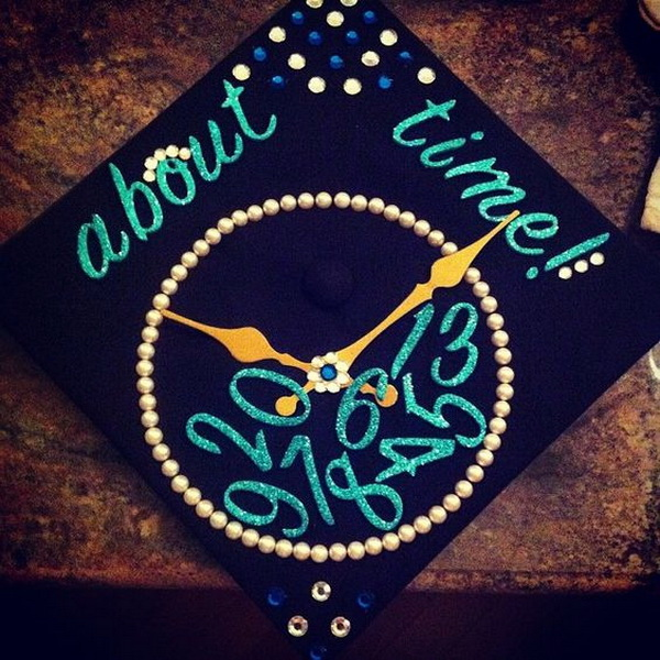 Clock Graduation Cap---40+ Awesome Graduation Cap Ideas.