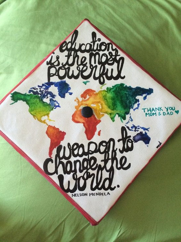 World Map Graduation Cap---40+ Awesome Graduation Cap Ideas.