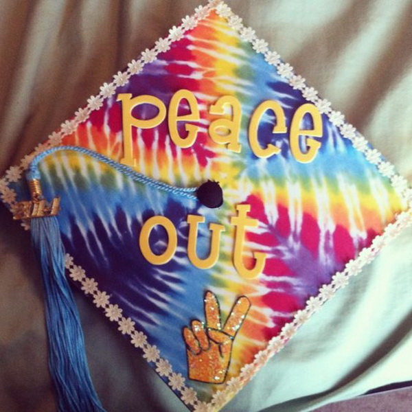 Tie Dye Graduation Cap---40+ Awesome Graduation Cap Ideas.