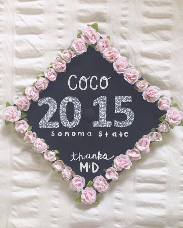 College Graduation Cap Decoration Idea With Pink Flower Boarder & 40+ Awesome Graduation Cap Decoration Ideas - For Creative Juice