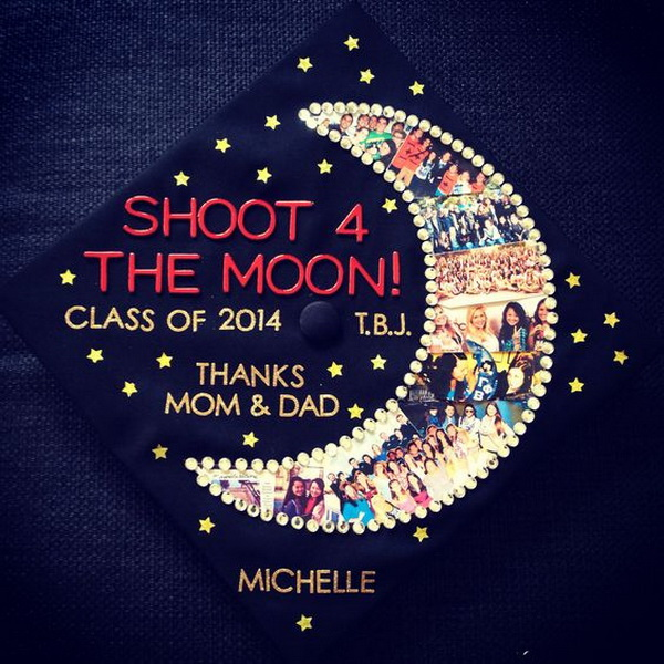 Graduation Cap with College Photos into the Moon---40+ Awesome Graduation Cap Ideas.