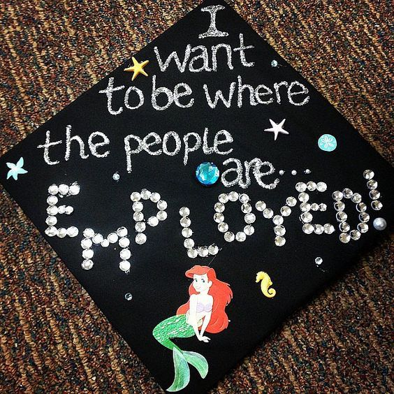 Little Mermaid Decorated Graduation Cap---40+ Awesome Graduation Cap Ideas.