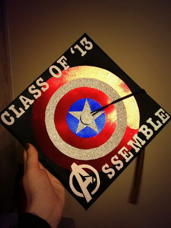 Captain America Graduation Cap.