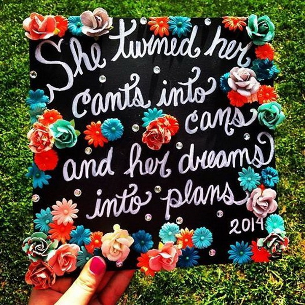 Floral Graduation Cap with Quotes.