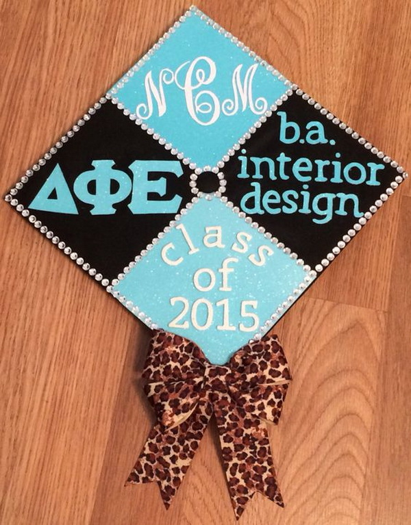 Bright Blue and Black Graduation Cap with A Leopard Bow---40+ Awesome Graduation Cap Ideas.
