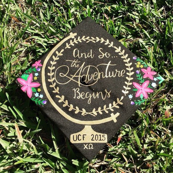 Globe World and Floral Quote Graduation Cap---40+ Awesome Graduation Cap Ideas.