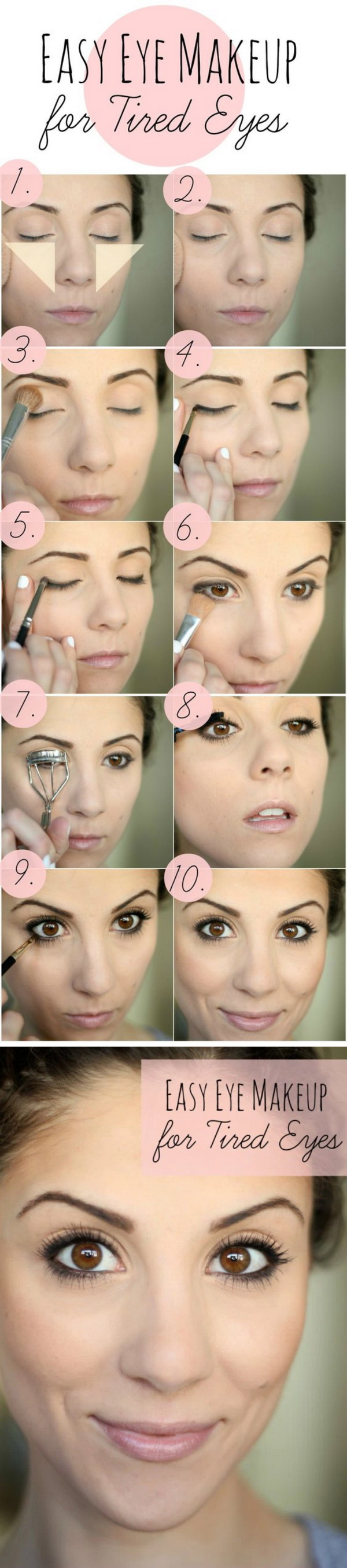 Eye Makeup Tips for Tired Eyes: Here is a creative and life-saving makeup tip for tired and puffy eyes for your inspiration. You can use one bright colour ...