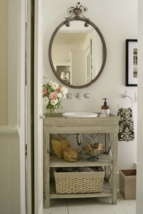 Rustic Wooden Bathroom Sink Stand.