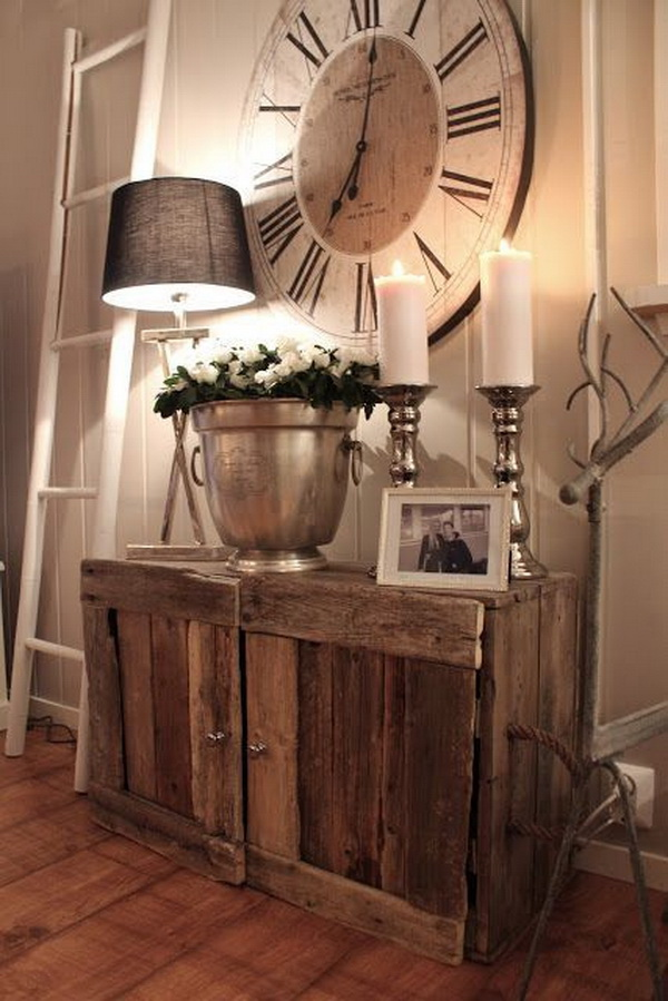 Rustic Cabinet and the Huge Clock.
