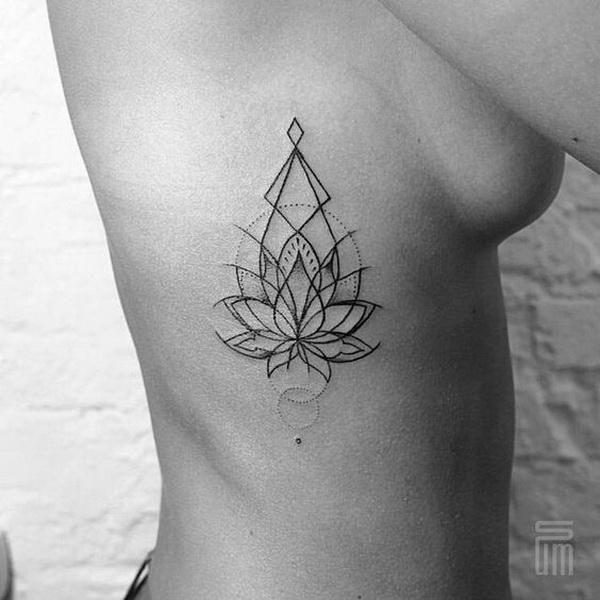 Geometric Lotus Tattoo on Side.
