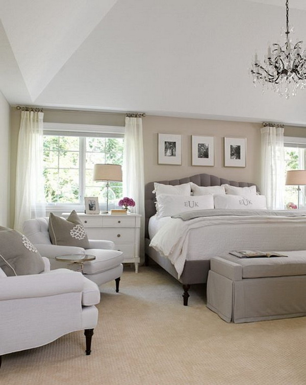 White, Gray And Beige Master Bedroom. Neutral Bedroom Interior Design Idea.  Love The