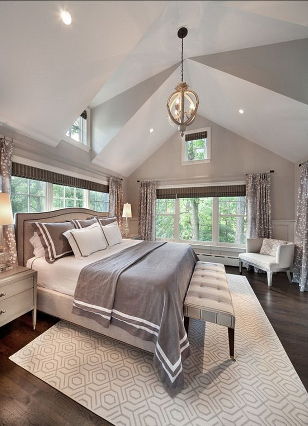 Soothing master bedroom color palette. Paint Color is Farrow & Ball Cornforth White 228.