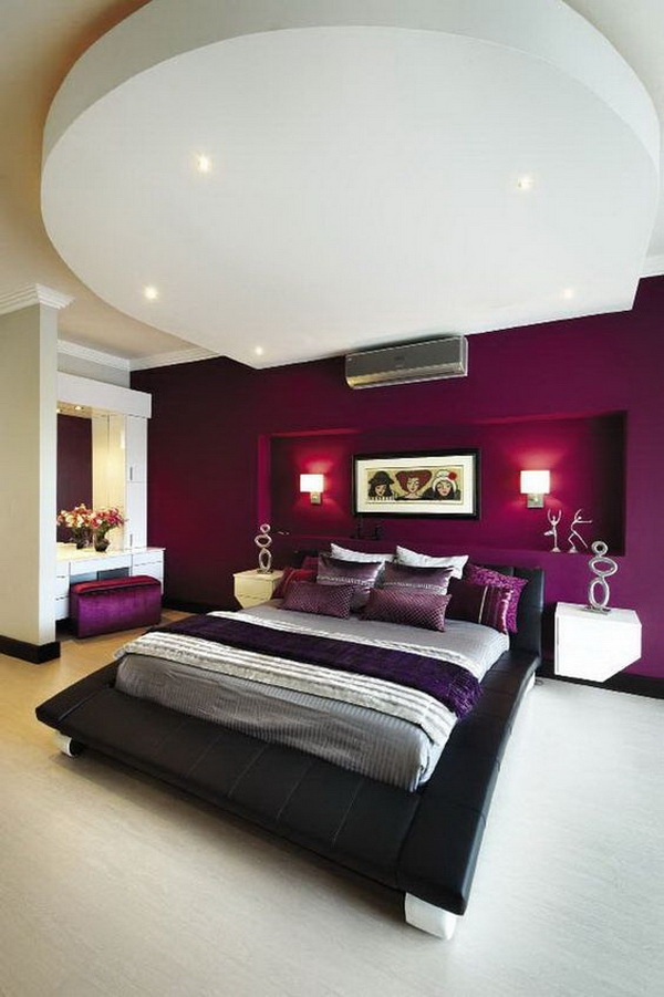 Purple and White Themed Master Bedroom.