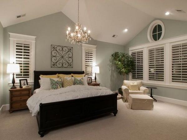 Pastel Gray Painted Bedroom Walls.