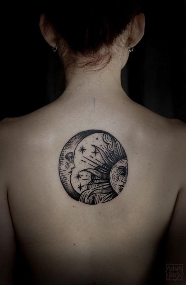 Beautiful Moon And Sun Back Tattoo.