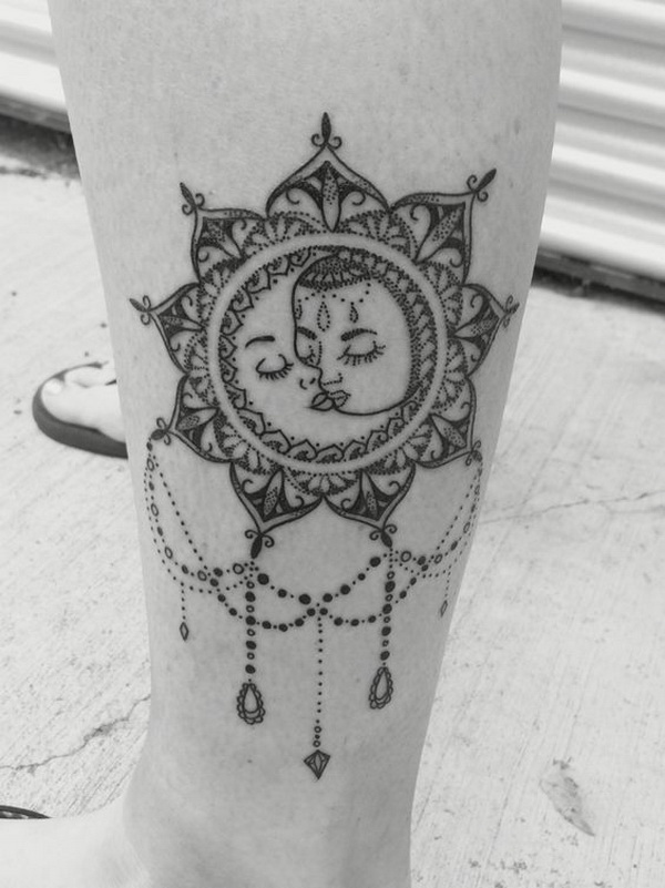 Vintage Boho Sun and Moon Mandala Tattoo.