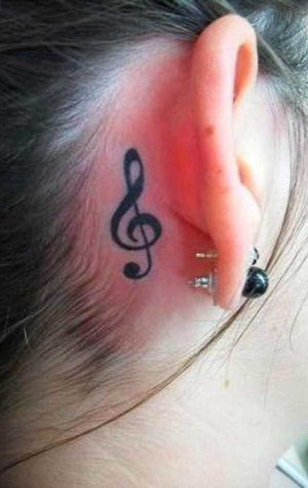 Simple Music Note Tattoo Behind the Ear.