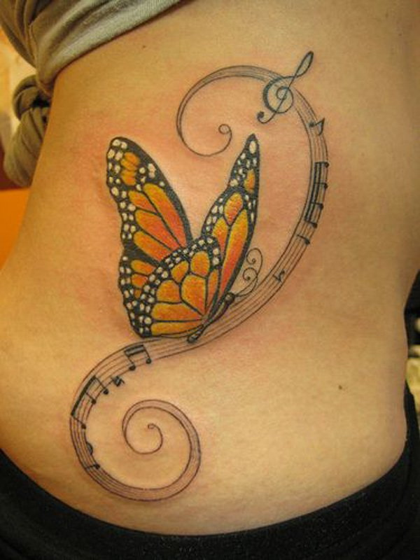 Music and 3D Butterfly Tattoo.