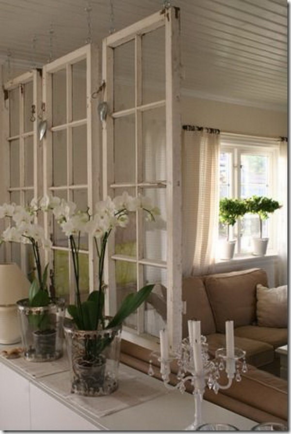 A Chic Space Divider Made from Old Windows.