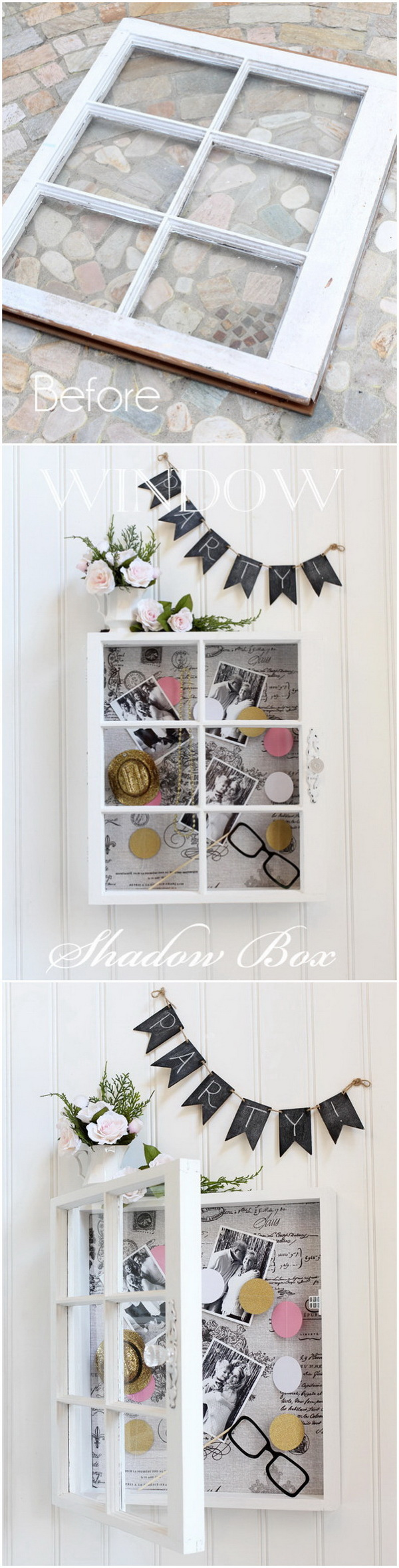 Window Shadow Storage Box. This DIY shadow box made from old windows is not only a functional storage shelf, but also be a great wall decor piece for your home!