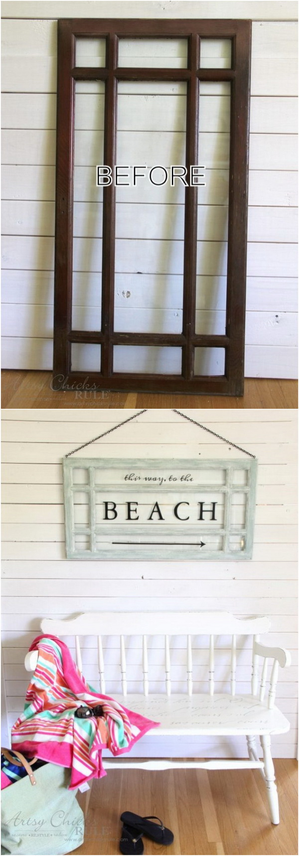 Old Window Beach Sign.