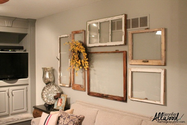 DIY Gallery Wall with Old Windows.