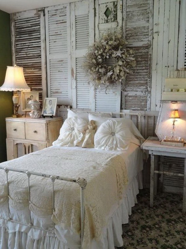 Vintage Chic Bedroom with Shutters Wall Decor.
