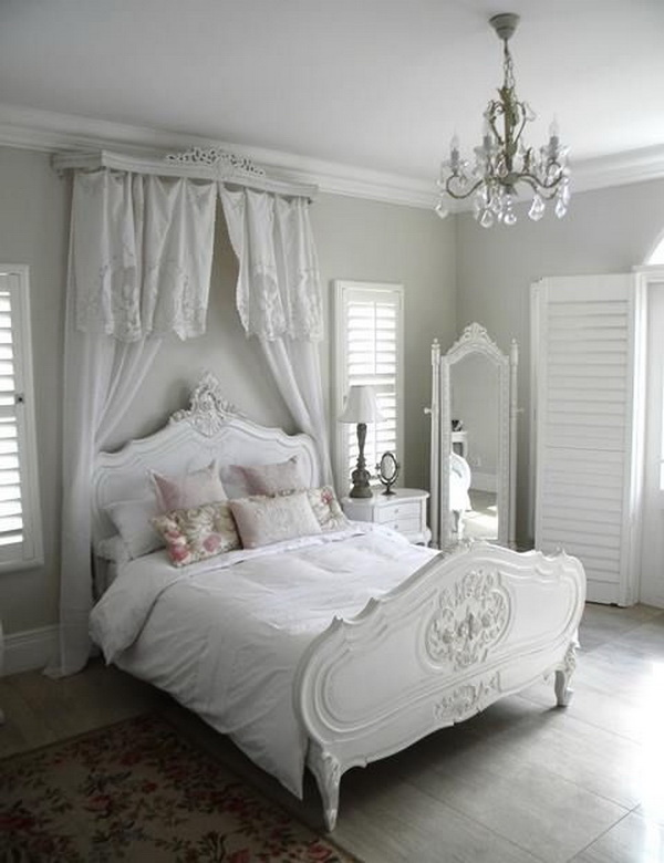 White in White Shabby Chic Bedroom with a Canopy over Headboard & 30+ Cool Shabby Chic Bedroom Decorating Ideas - For Creative Juice