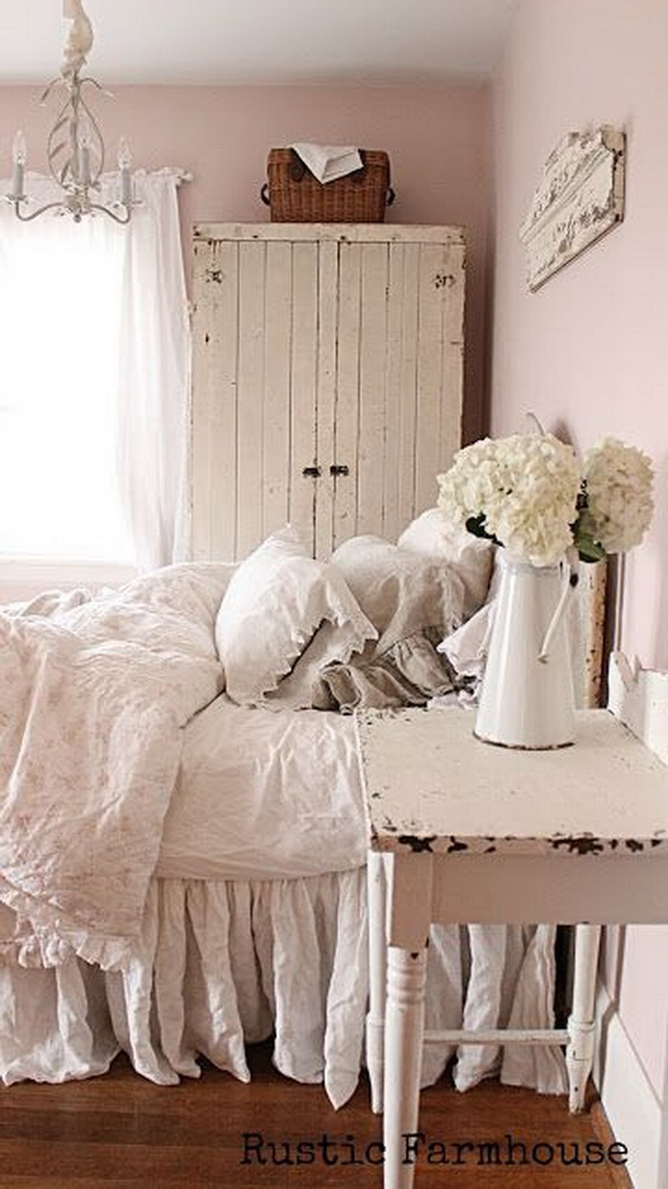 Comfortable, Calming Bedroom with Vintage Chic Cabinet and Beddings.