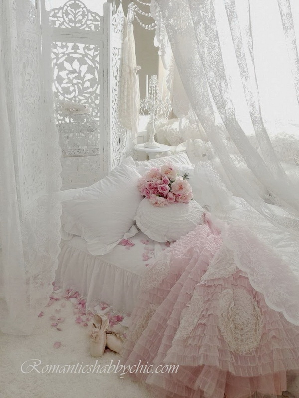 Romantic Shabby Chic Bedroom with Love.