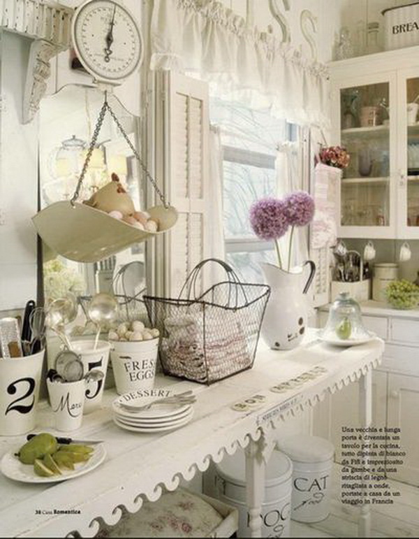 shabby chic kitchen with antique flair
