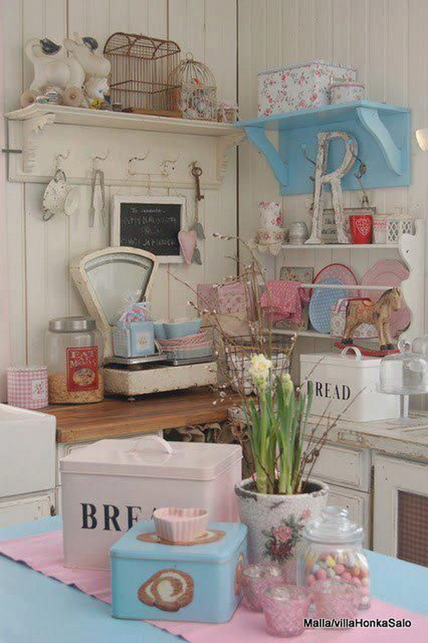35 awesome shabby chic kitchen designs accessories and for Chambre style shabby chic