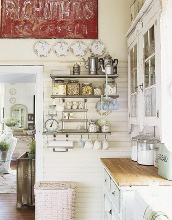 Cottage Shabby Chic Kitchen Along with Cabinets Worn with Time.