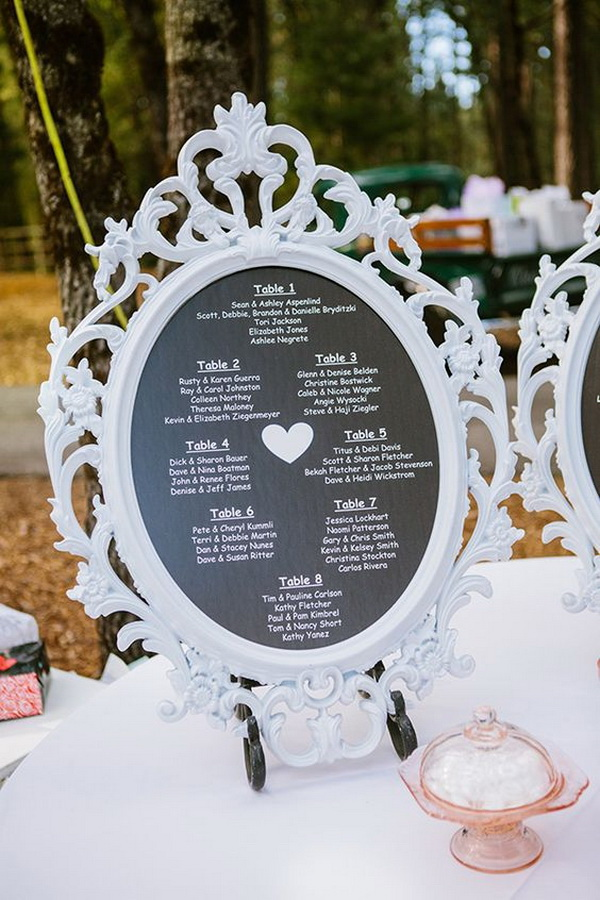 Frame Seating Chart Sign with Black Paper and White Marker.