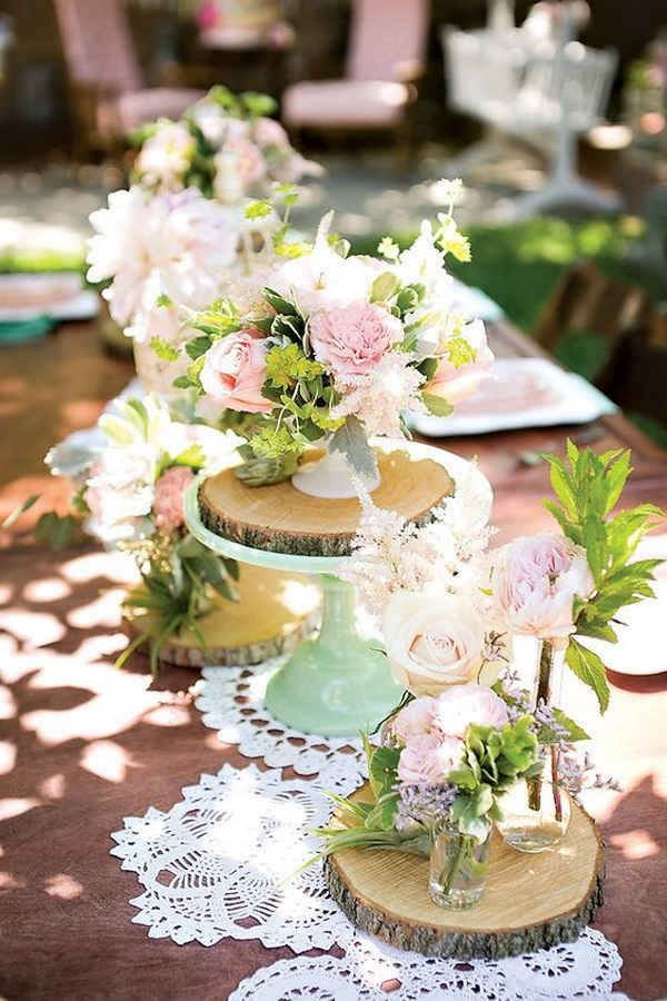 Lace and Wood Rounds Mint and Pink Flowers Wedding Tablescape.