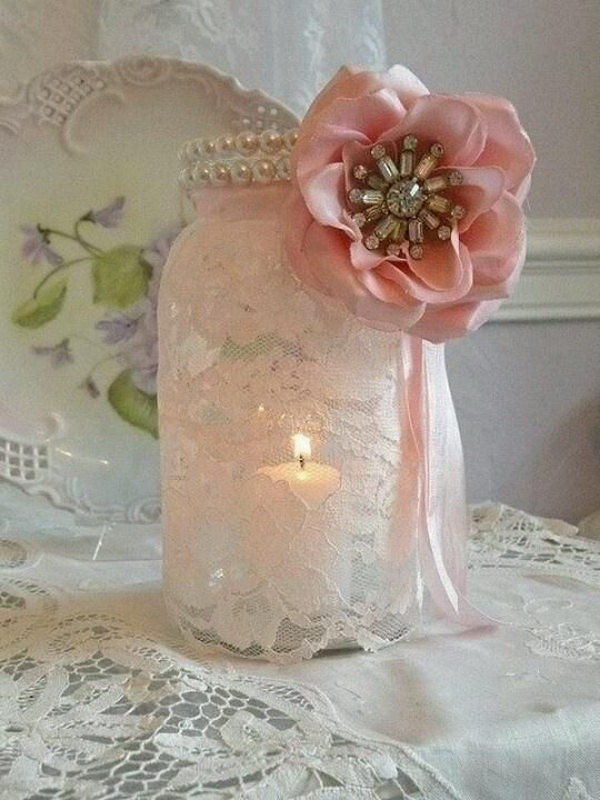 Mason Jar Lace Candles for Shabby Chic Wedding Decoration.