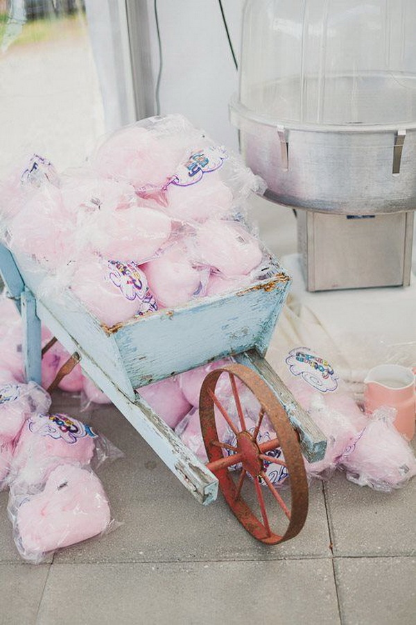 Pink Cotton Candy in Vintage Blue Wagon for Shabby Chic Wedding Decoration.