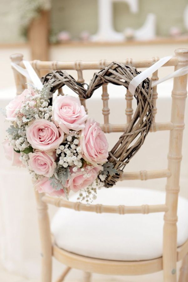 Delightful Shabby Chic Wedding Chair Decoration With Branch Heart And Pastel Fresh  Flowers.
