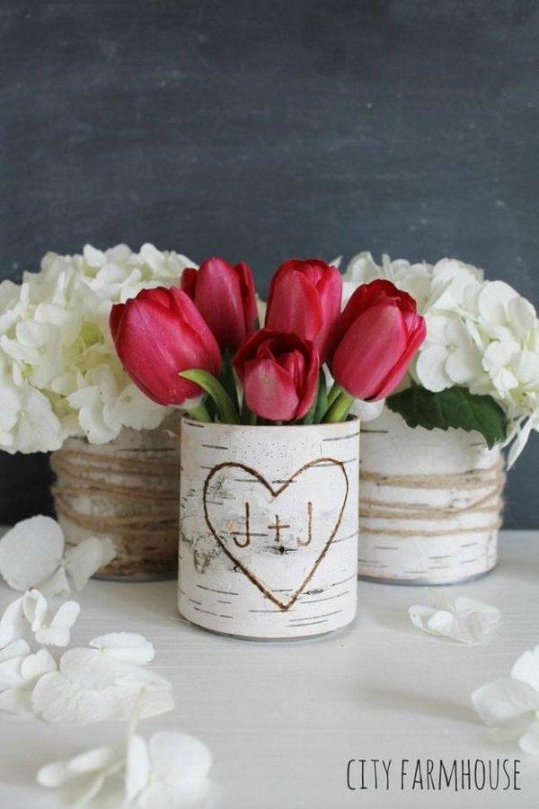 DIY Birch Flower Vases.