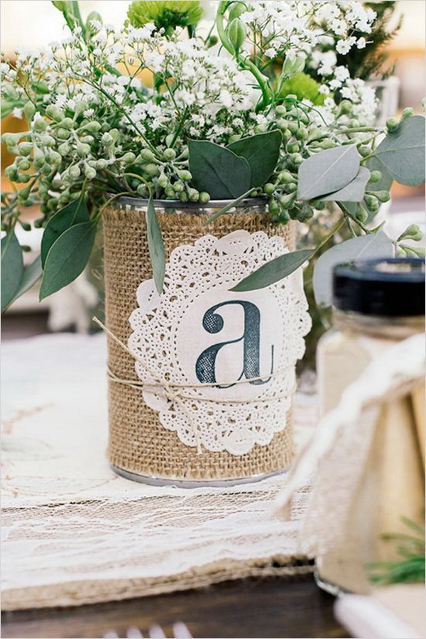 Rustic Burlap and Lace Wrapped Tin Can Flower Vase.