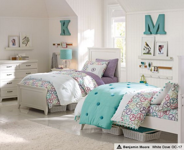 Pale green, purple and cream white shared bedroom decoraing ideas for little girls.