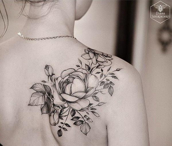 45 cool shoulder tattoo designs for creative juice for Rose tattoo on back shoulder