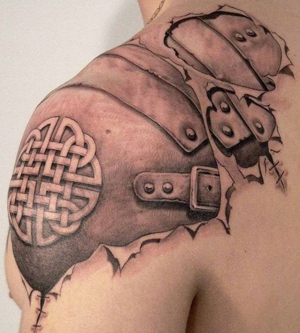 Celtic Armor Tattoo on Shoulder for Men.