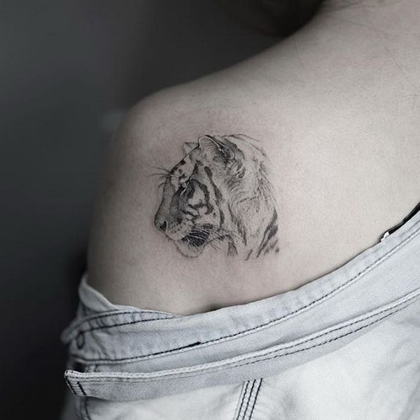 White Tiger Shoulder Tattoo.