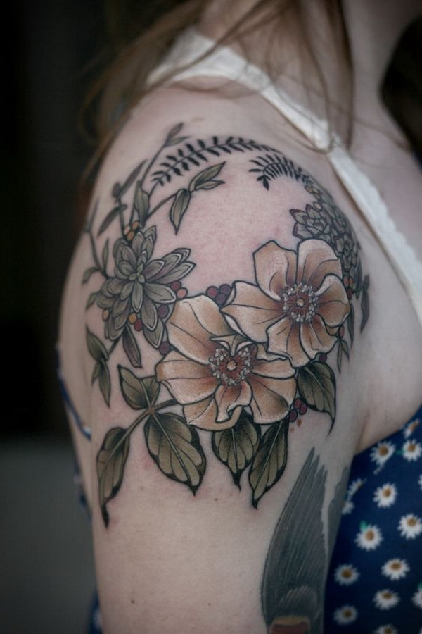 Floral Tattoo on Shoulder Cap.