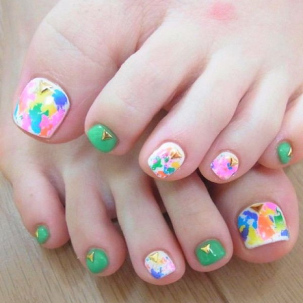 Abstract and Paint Inspired Toenail Art.